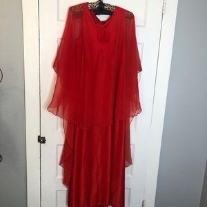 Vintage formal gown with attached layered smock